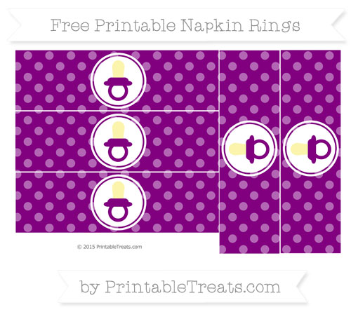 Free Purple Dotted Pattern Baby Pacifier Napkin Rings