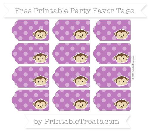 Free Purple Dotted Pattern Boy Monkey Party Favor Tags