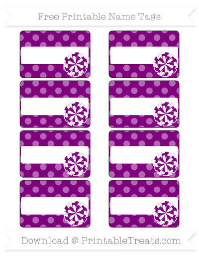 Free Purple Dotted Pattern Cheer Pom Pom Tags
