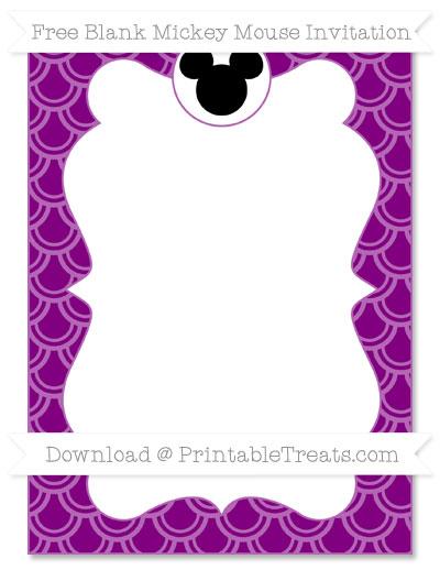 Free Purple Fish Scale Pattern Blank Mickey Mouse Invitation