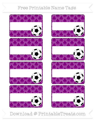 Free Purple Fish Scale Pattern Soccer Name Tags