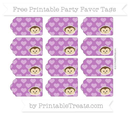 Free Purple Heart Pattern Boy Monkey Party Favor Tags