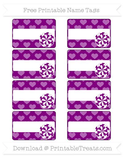 Free Purple Heart Pattern Cheer Pom Pom Tags