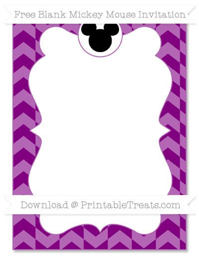 Free Purple Herringbone Pattern Blank Mickey Mouse Invitation