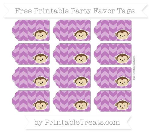 Free Purple Herringbone Pattern Boy Monkey Party Favor Tags