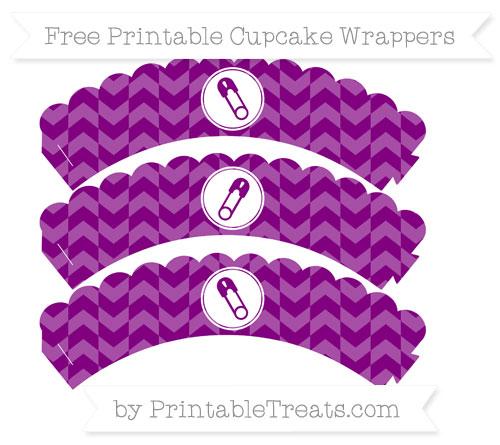 Free Purple Herringbone Pattern Diaper Pin Scalloped Cupcake Wrappers