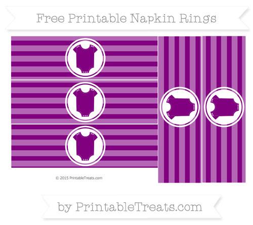 Free Purple Horizontal Striped Baby Onesie Napkin Rings