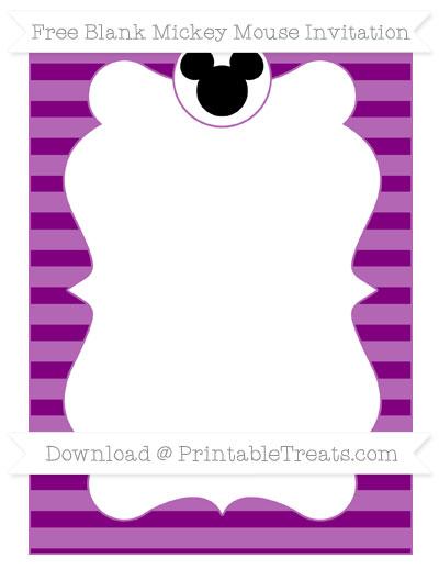 Free Purple Horizontal Striped Blank Mickey Mouse Invitation