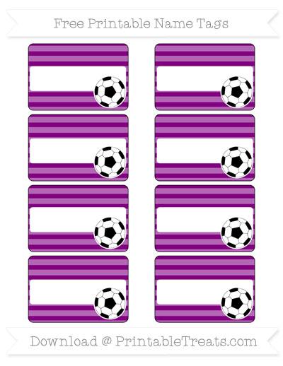 Free Purple Horizontal Striped Soccer Name Tags