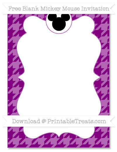 Free Purple Houndstooth Pattern Blank Mickey Mouse Invitation