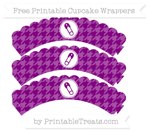 Free Purple Houndstooth Pattern Diaper Pin Scalloped Cupcake Wrappers