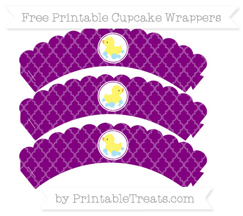 Free Purple Moroccan Tile Baby Duck Scalloped Cupcake Wrappers