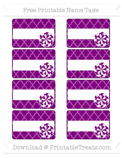 Free Purple Moroccan Tile Cheer Pom Pom Tags