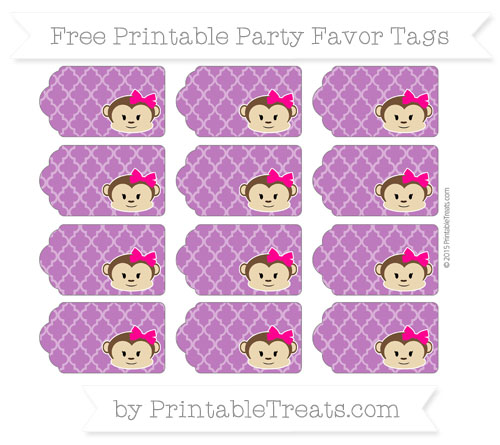 Free Purple Moroccan Tile Girl Monkey Party Favor Tags