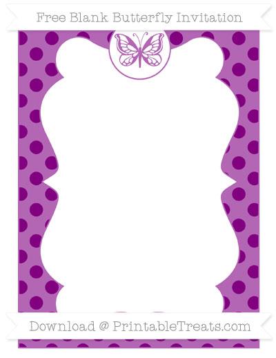 Free Purple Polka Dot Blank Butterfly Invitation