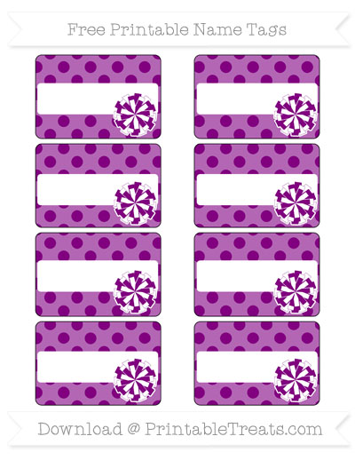 Free Purple Polka Dot Cheer Pom Pom Tags