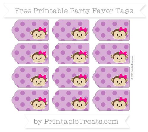 Free Purple Polka Dot Girl Monkey Party Favor Tags