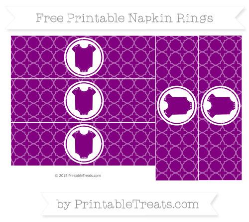 Free Purple Quatrefoil Pattern Baby Onesie Napkin Rings