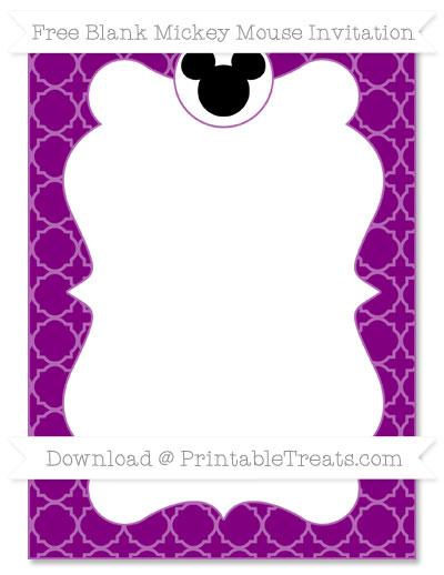 Free Purple Quatrefoil Pattern Blank Mickey Mouse Invitation
