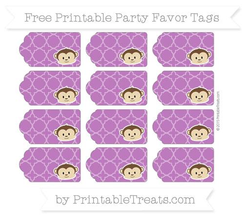 Free Purple Quatrefoil Pattern Boy Monkey Party Favor Tags
