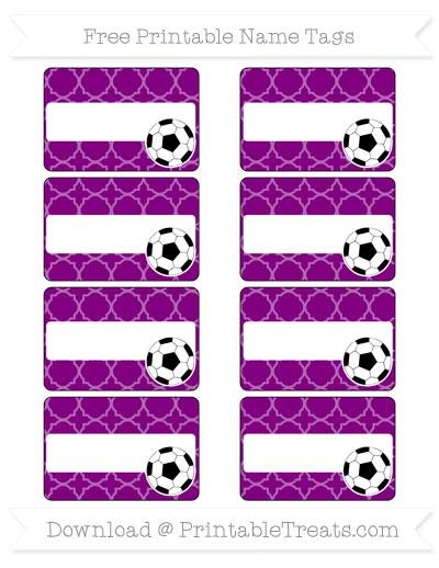 Free Purple Quatrefoil Pattern Soccer Name Tags