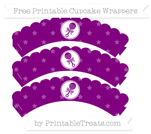 Free Purple Star Pattern Baby Rattle Scalloped Cupcake Wrappers