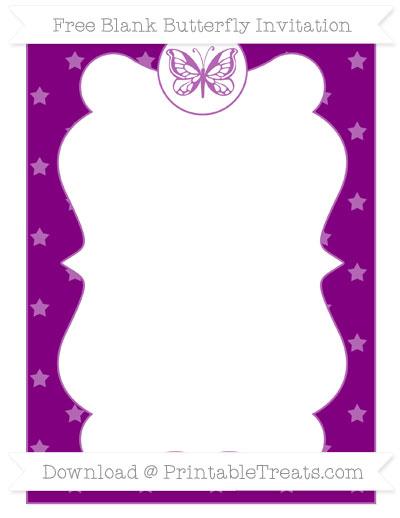 Free Purple Star Pattern Blank Butterfly Invitation