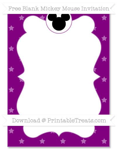 Free Purple Star Pattern Blank Mickey Mouse Invitation