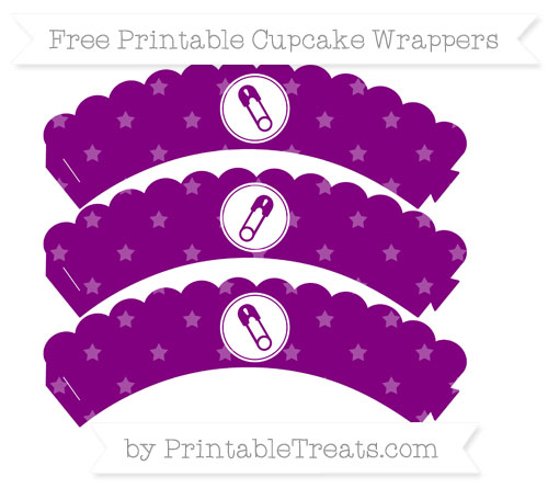 Free Purple Star Pattern Diaper Pin Scalloped Cupcake Wrappers