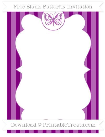 Free Purple Striped Blank Butterfly Invitation