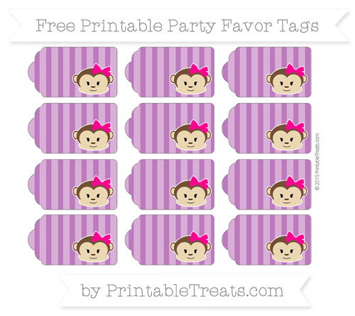 Free Purple Striped Girl Monkey Party Favor Tags