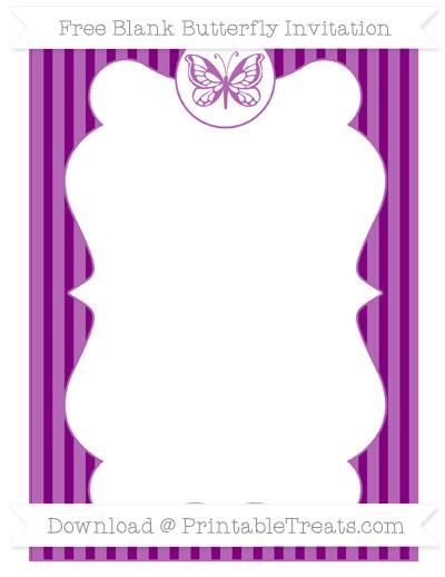 Free Purple Thin Striped Pattern Blank Butterfly Invitation