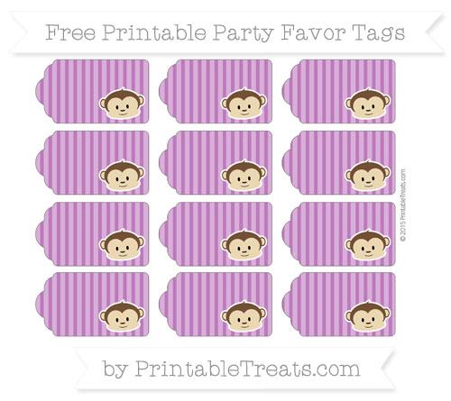 Free Purple Thin Striped Pattern Boy Monkey Party Favor Tags