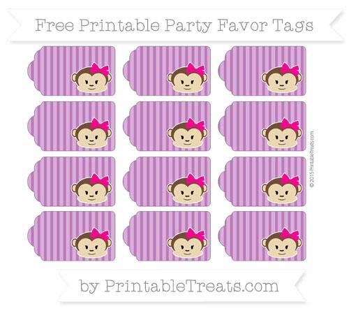 Free Purple Thin Striped Pattern Girl Monkey Party Favor Tags