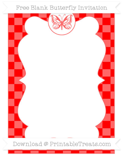 Free Red Checker Pattern Blank Butterfly Invitation