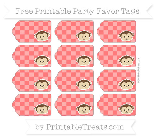 Free Red Checker Pattern Boy Monkey Party Favor Tags
