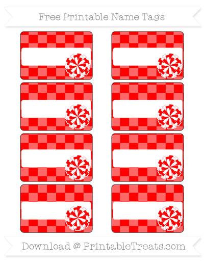 Free Red Checker Pattern Cheer Pom Pom Tags