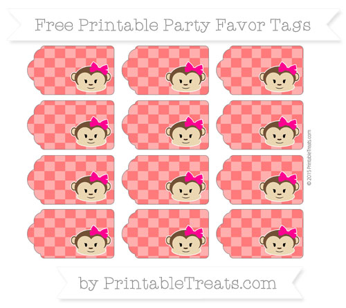 Free Red Checker Pattern Girl Monkey Party Favor Tags