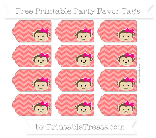 Free Red Chevron Girl Monkey Party Favor Tags