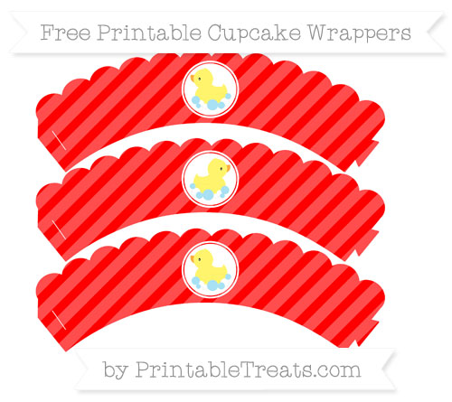 Free Red Diagonal Striped Baby Duck Scalloped Cupcake Wrappers