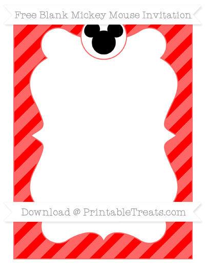 Free Red Diagonal Striped Blank Mickey Mouse Invitation