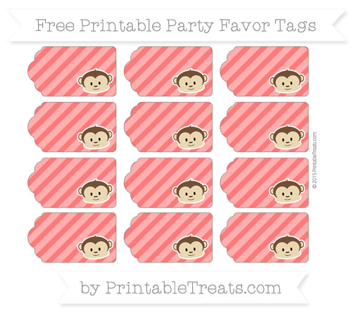 Free Red Diagonal Striped Boy Monkey Party Favor Tags