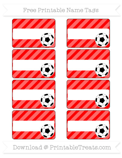 Free Red Diagonal Striped Soccer Name Tags