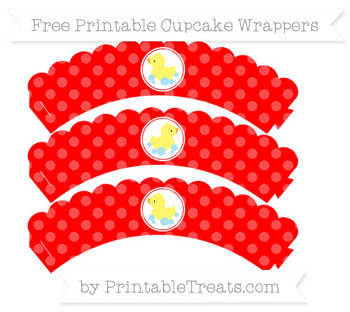 Free Red Dotted Pattern Baby Duck Scalloped Cupcake Wrappers