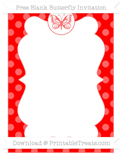 Free Red Dotted Pattern Blank Butterfly Invitation