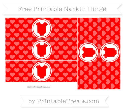 Free Red Heart Pattern Baby Onesie Napkin Rings
