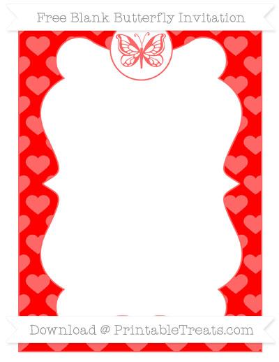 Free Red Heart Pattern Blank Butterfly Invitation