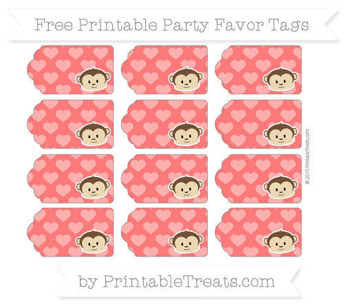 Free Red Heart Pattern Boy Monkey Party Favor Tags