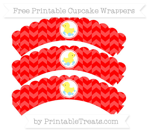 Free Red Herringbone Pattern Baby Duck Scalloped Cupcake Wrappers