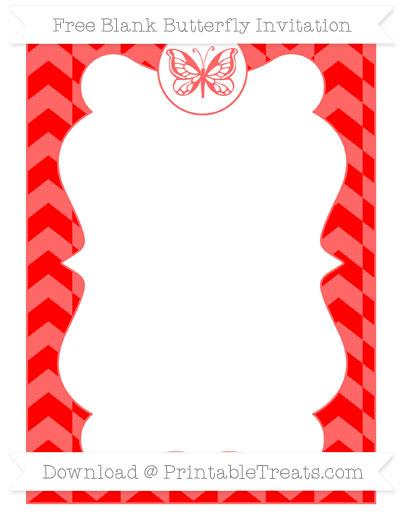 Free Red Herringbone Pattern Blank Butterfly Invitation